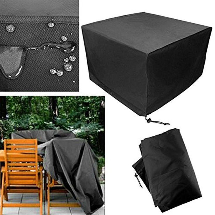 Cubiertademueblesprotectoresparapatio Negro Rectangular Extra Large Impermeable Cubierta plegable para asientos y mesa plegable a prueba de polvo