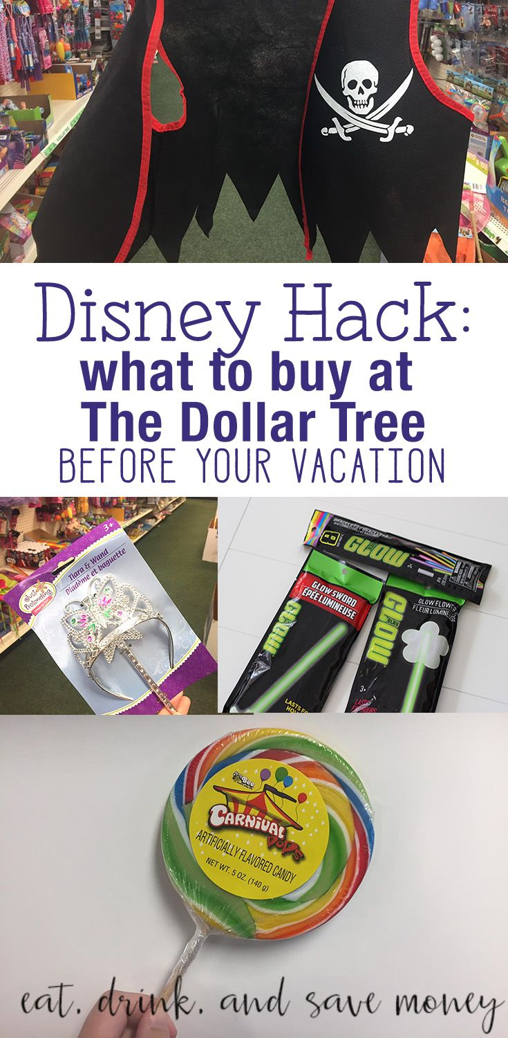 Disney Hack- What to buy at The Dollar Tree Before your vacation to Disney World. Spend Less at Disney World. What do buy before going to Disney World.   Disney Hack: What to Buy at The Dollar Tree Before Your Trip http://eatdrinkandsavemoney.com/2017/04/26/disney-hack-what-to-buy-at-the-dollar-tree-before-your-trip/