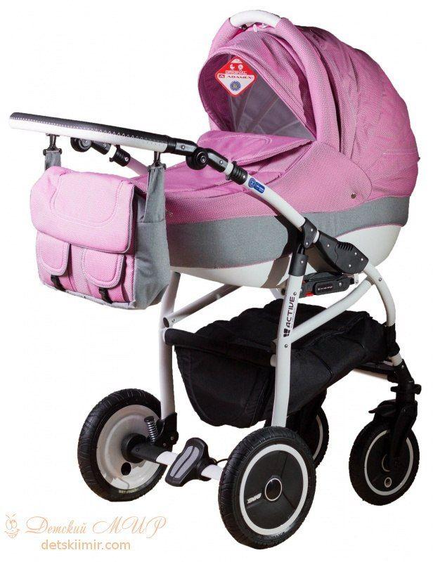 Детская коляска Adamex 2 в 1 Active Len 90L  Цена: 270 USD  Артикул: mp60123  Детская коляска Adamex 2 в 1 Active – многофункциональная, глубокая коляска 2 в1 на легкой, алюминиевой раме, с надувными колесами. Основным преимуществом коляски является безопасность малыша, и простота в обслуживании. Коляска обладает очень простой системой крепления люльки или прогулочного блока. Оба модуля обшиты качественной, гипоаллергенной тканью и имеют откидной солнцезащитный козырёк. Модули…