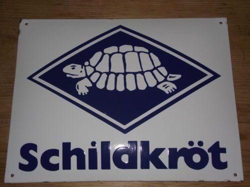 Reklame-Emaile-Schild-Emailleschild-SCHILDKROT-Celluloid-Puppe-Spielzeug-TOP