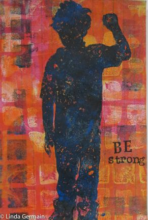 a gelatin monotype print by linda germain Today I chose a stencil of one of my nephews.  Plus I used these tool to create this ICAD gelatin print.  hair dryer tile sample brayer inks letter stamping set newsprint baren handmade stamping tool and the gelatin plate