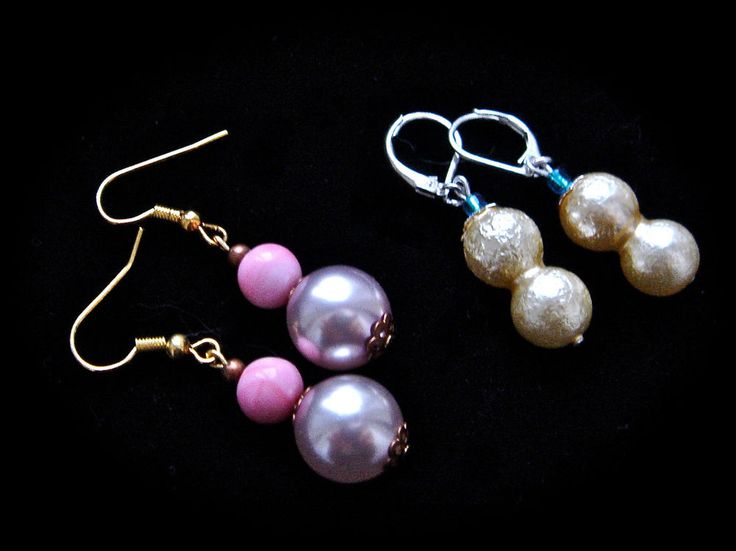 LOT TWO Czech Glass Earrings Drop Leverback Hook Clasps Faux Pearl Silver Gold #Unbranded #DropDangle