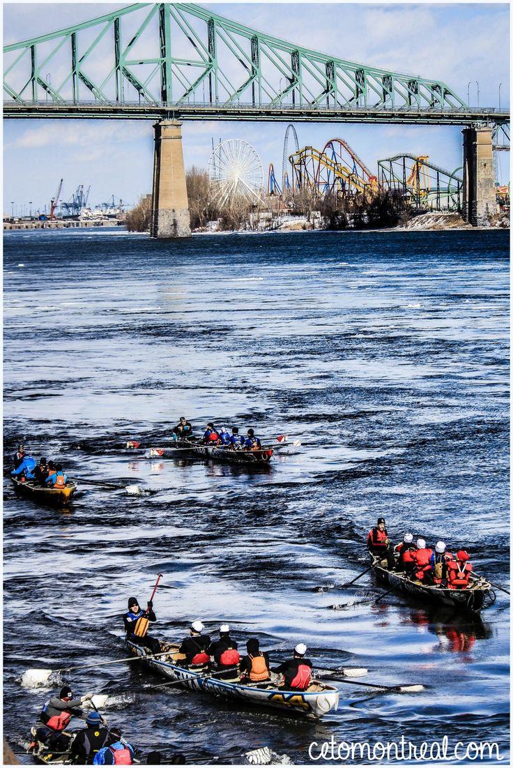 Assister à une compétition de canots à glace en hiver à Montréal