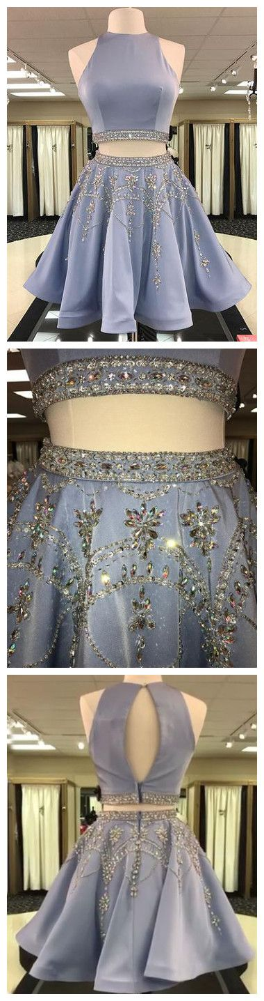 Two Pieces A-line Scoop Short Prom Dress Beaded Homecoming Dresses SKY991