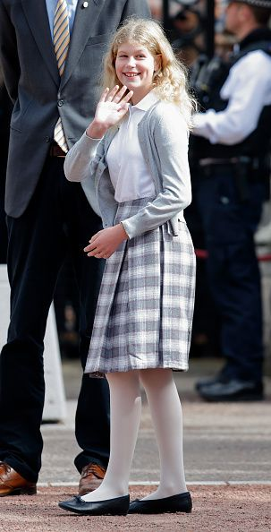 Lady Louise Windsor awaits the arrival of Sophie, Countess of Wessex at Buckingham Palace where she will complete her Diamond Challenge cycle ride on September 25, 2016 in London, England.