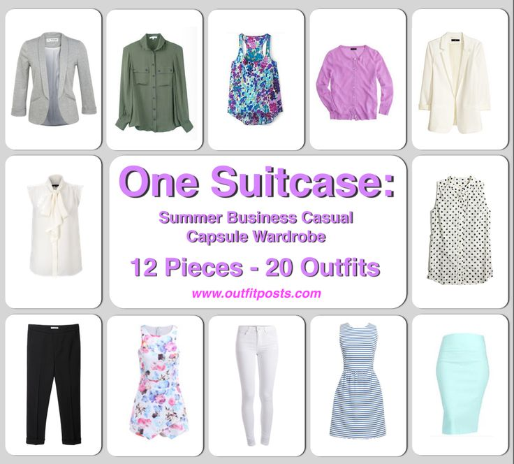 one suitcase: summer business casual capsule wardrobe - 12 clothing pieces