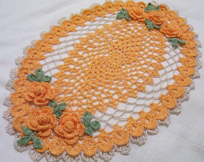 Tapete de centro de mesa ovalado de rosas vestidos de - Centro de mesa a crochet ovalado ...