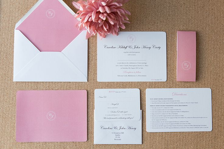 Classic wedding invitation, with a gentle touch of color