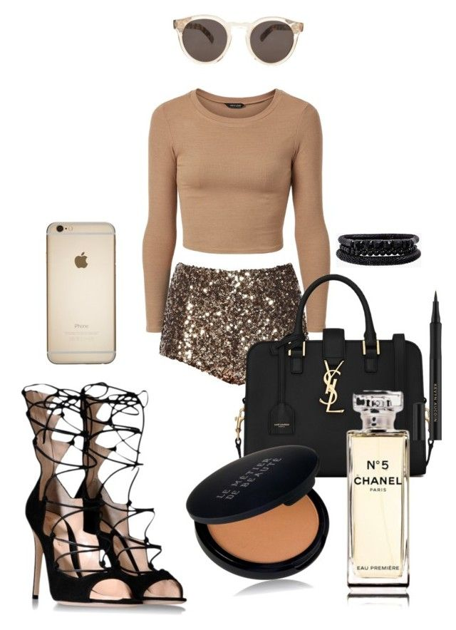 #classy #fashion #design #polyvore #love # outfit  Classy tan by shylastylez on Polyvore featuring polyvore, fashion, style, French Connection, Gianvito Rossi, Yves Saint Laurent, Spring Street, Illesteva, Le Métier de Beauté and Chanel