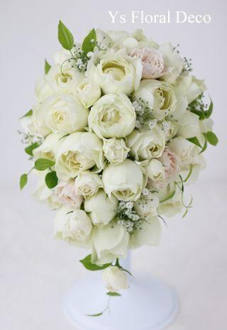 カップ咲きのバラとかすみ草のティアドロップブーケ  ys floral deco  @ウェスティンホテル東京