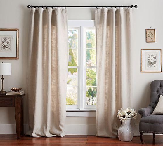 linen drapes/white/green/blue/teal Belgian Linen Drape | Pottery Barn