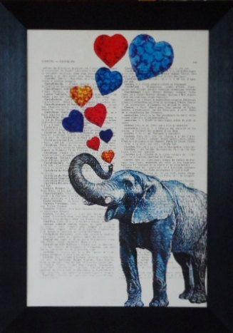 Elephant print love elephant painting Mothers day present ... - photo#18