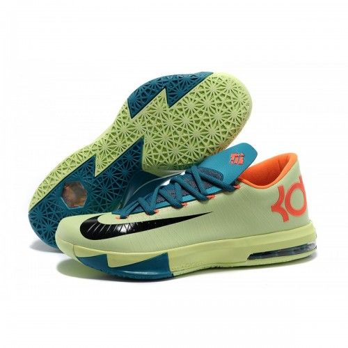 Nike Zoom KD 6 Light Green Blue Orange Black Shoes are cheap sale online.  Buy newest kd 6 blue orange shoes from belovedaj now!