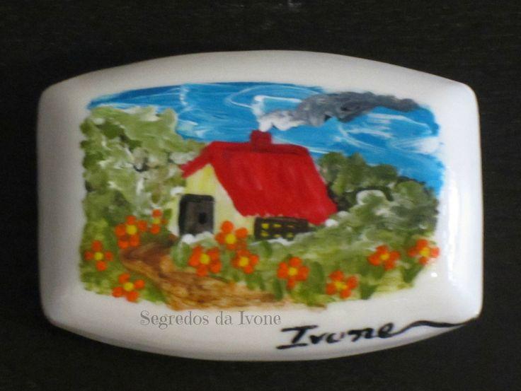 SA52-  Pintura em sabonete - motivo paisagem de campo