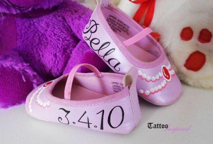 Beautiful personalised baby girl shoe