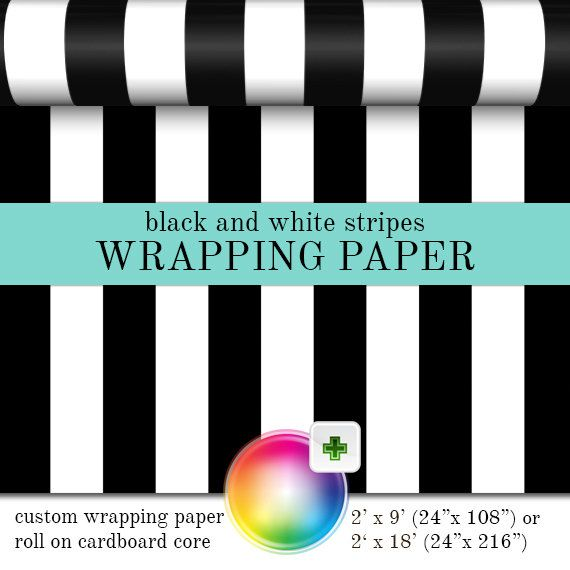 Gift Wrap Black And White Stripes Pattern  by PineAndBerryShop