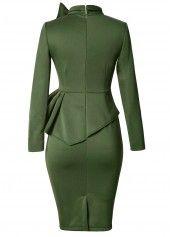 Peplum Waist Bowknot Embellished Army Green Dress | Rotita.com - USD $33.23