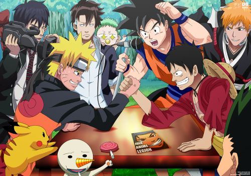 Naruto x One Piece Crossover x Dragon ball and bleach..I think?... And other anime's I don't really know..