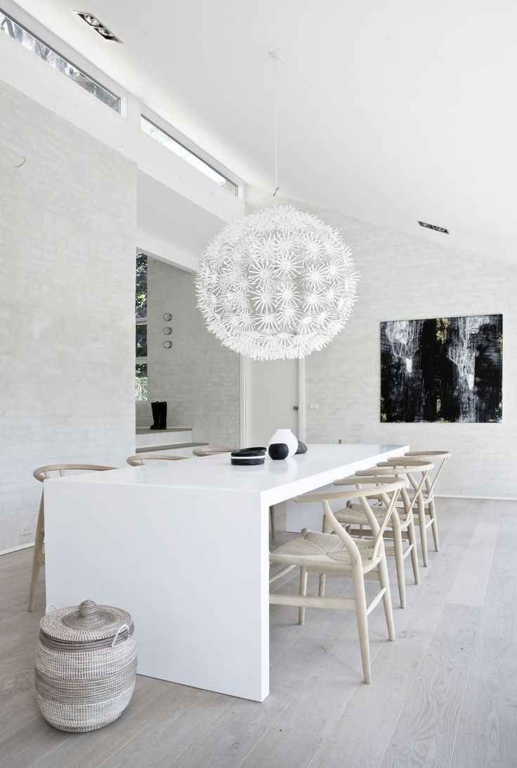 Simple Minimalist Furniture Dining Room Decorations With White Acrylic Long Dining Table Added White Chairs As Well As Balls Hanging Lamps In White Room Color Wall Painted Schemes