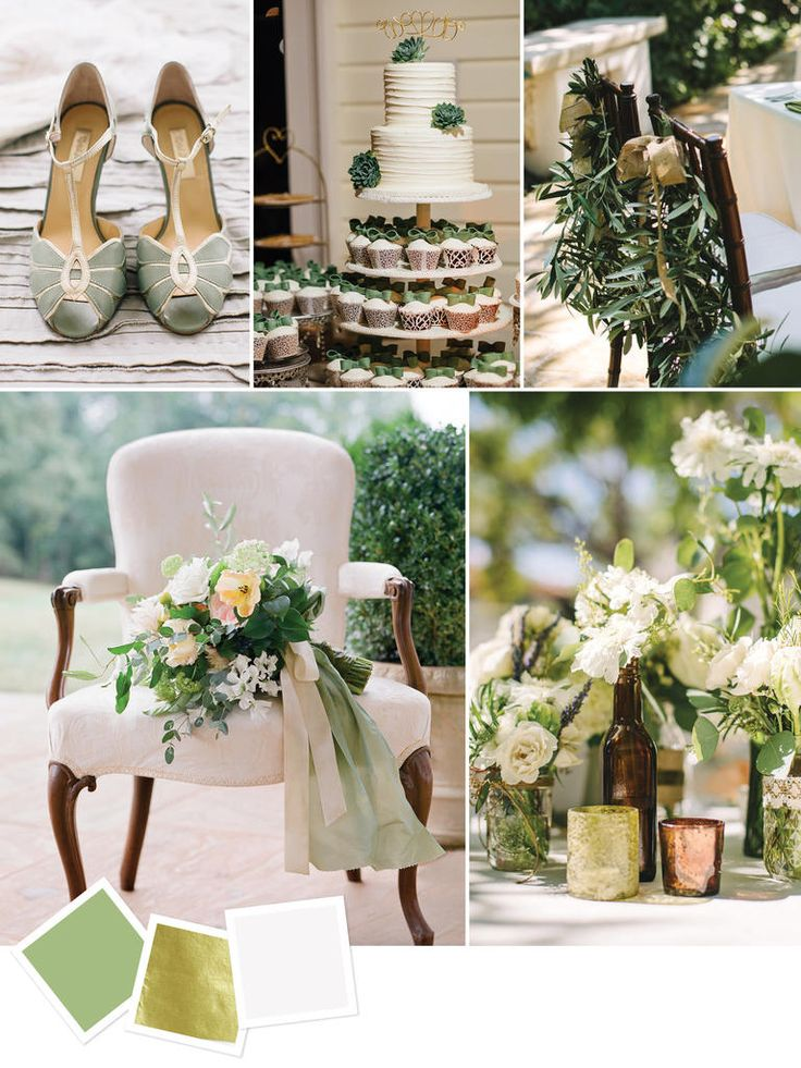 You can't get any more versatile than sage, gold and ivory. This wedding color combination works for year-round outdoor and indoor wedding themes.