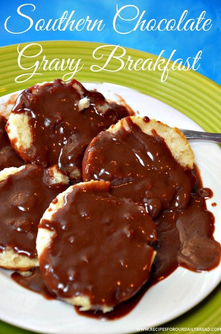 Chocolate Gravy & Biscuit Breakfast - The Best Breakfast Ever!  http://www.recipesforourdailybread.com/chocolate-gravy-recipe-video/  #breakfast #best breakfast #chocolate