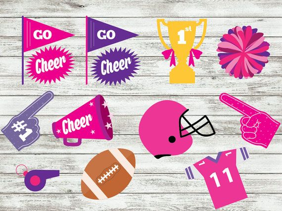 Cheerleaders Photo booth props Cheerleader Party by IRMdesgn