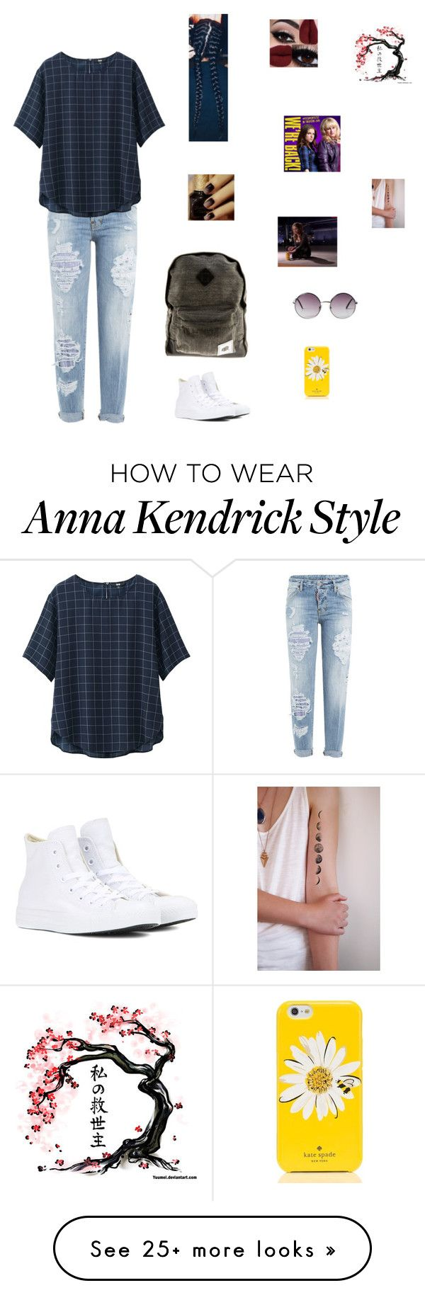"""Pitch Perfect"" by sass-queen-159 on Polyvore featuring Dsquared2, Uniqlo, Converse, Vandal Collective, Monki and Kate Spade"