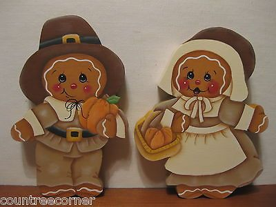 HP Gingerbread Pilgrim couple Thanks Giving Shelf Sitter hand painted wood