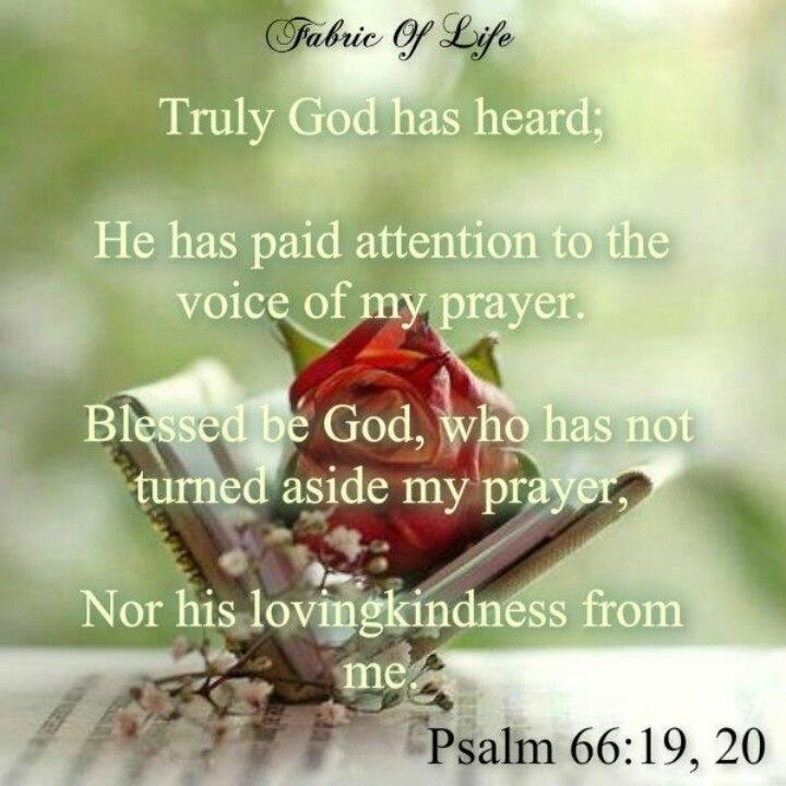 Jesus has heard my prayer... But certainly God has heard me; He has attended to the voice of my prayer. Blessed be God, Who has not turned away my prayer, Nor His mercy from me! [Psalm 66:19-20]