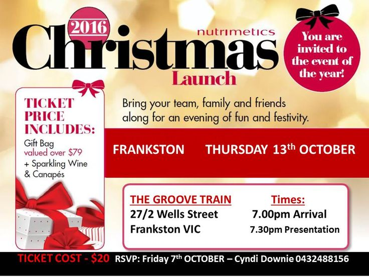 Christmas 2016 - Be one of the first to see the amazing Christmas Range from Nutrimetics - Join us on the Mornington Peninsula at The Groove Train on Thursday 13th October 2016.  Phone Cyndi on 0432488156 to book your tickets.