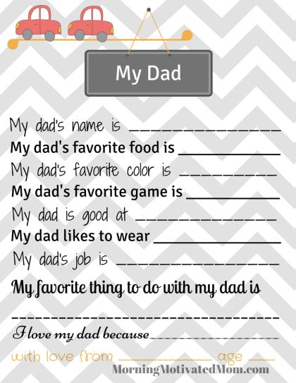 Handmade Gift for Dad – All About My Dad Printable Page. Free Printable. Grandpa version also available.