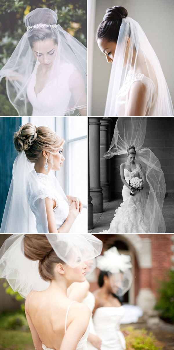 26 Bridal Hairstyles that Look Good with Veils - High bun!