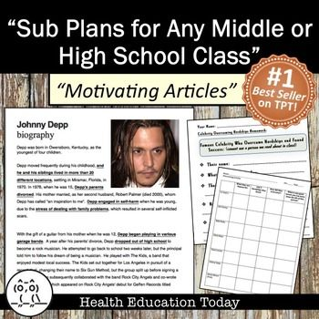 """Substitute Lesson Plans For Any Middle or High School Class!  This activity is an easy one to have tucked in a cupboard in case of an emergency or unplanned sub day!! It's my #1 best selling sub plan.  FUN!! Students LOVE THIS LESSON! """"The sub said the students were engaged the whole time and all completed the assignment."""""""