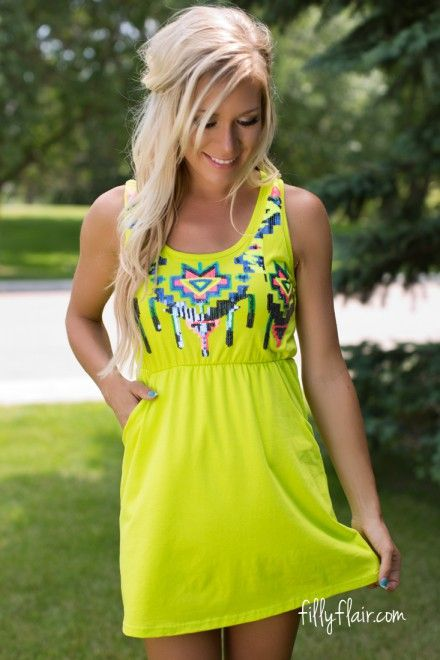 Aztec Party Dress in Lime
