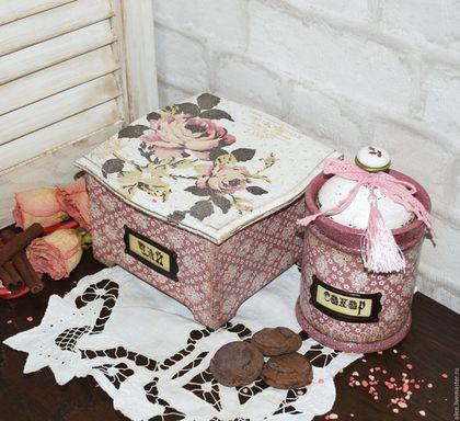 """Кухня ручной работы. Ярмарка Мастеров - ручная работа. Купить """"Розовый сахар"""" набор. Handmade. Бледно-розовый, чайная коробка"""