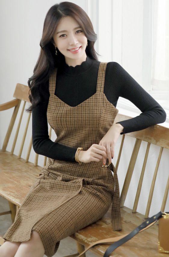 StyleOnme_Check Print Two-Piece Set #check #dress #set #cute #koreanfashion #kstyle #kfashion #dailylook #falltrend #seoul