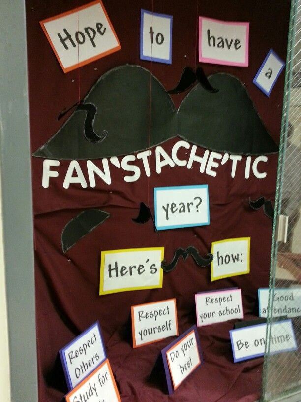 Welcome back showcase/bulletin board idea. ..middle school