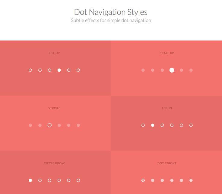 Dot Navigation Styles Subtle effects for simple dot navigation  http://tympanus.net/Development/DotNavigationStyles/