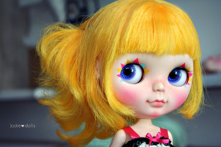 Sunny is a custom doll by me Jodiedolls. Base doll is a Prima dolly Marigold.       Work done    - Airbrushed and pastel make-up sealed with Mr. Super