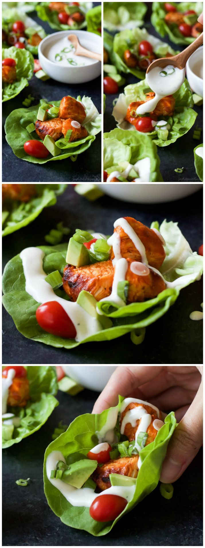 Get game day ready with these healthier low calorie Grilled Buffalo Chicken Lettuce Wraps! All the same great flavor with half the calories! These are delicious!| joyfulhealthyeats.com #recipes