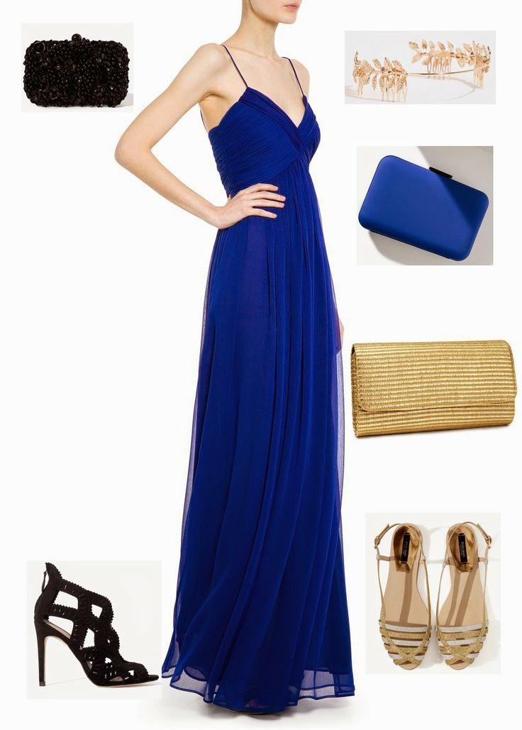 ¿Oro o negro? dos opciones para un vestido azul klein de Mango #fashion #lowcost http://cuchurutu.blogspot.com.es/2014/05/complementos-de-boda-lowcost.html