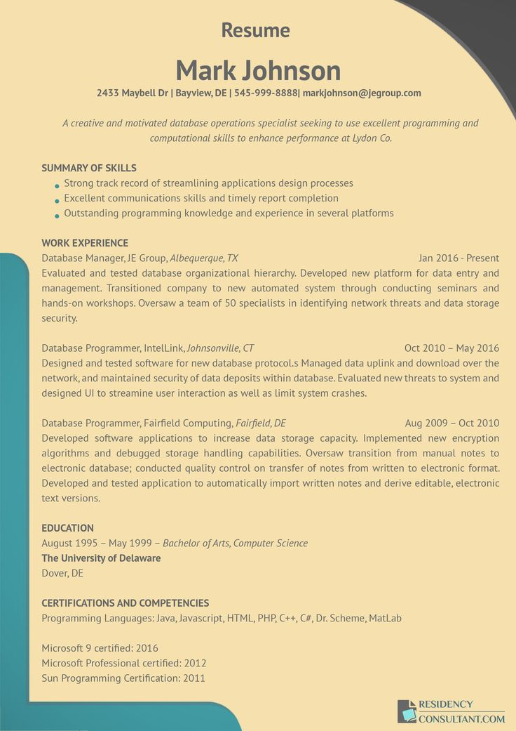 Applying for a residency? This residency resume sample will give - db programmer resume