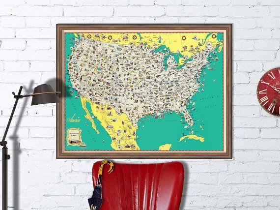 U.S. carte  carte illustrée d'US  US mur carte  par AncientShades