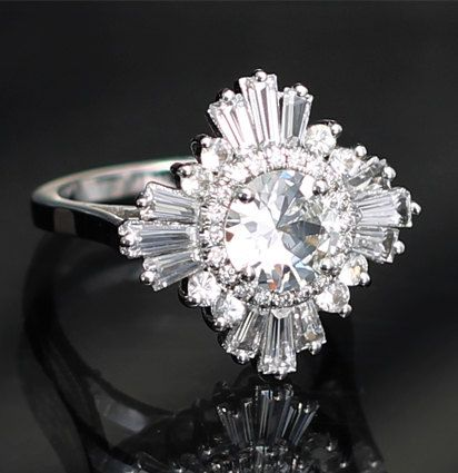 $3,012.12 Stunning White Sapphire and Diamond Ring by HeidiGibsonDesigns in 14K WHITE Gold I would LOVE this in all diamonds (1 carat centre stone), but it would cost $11,275.23!