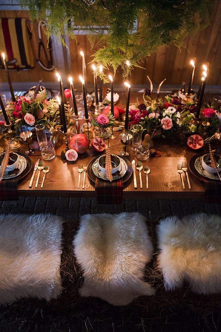 #rustic #rusticchic #candlelight #tabledecor #placesetting #sheepskin #cozydecor @weddingchicks