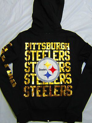 Victorias Secret Pink Pittsburgh Steelers Hoodie SweatShirt Bling NWT Large RARE