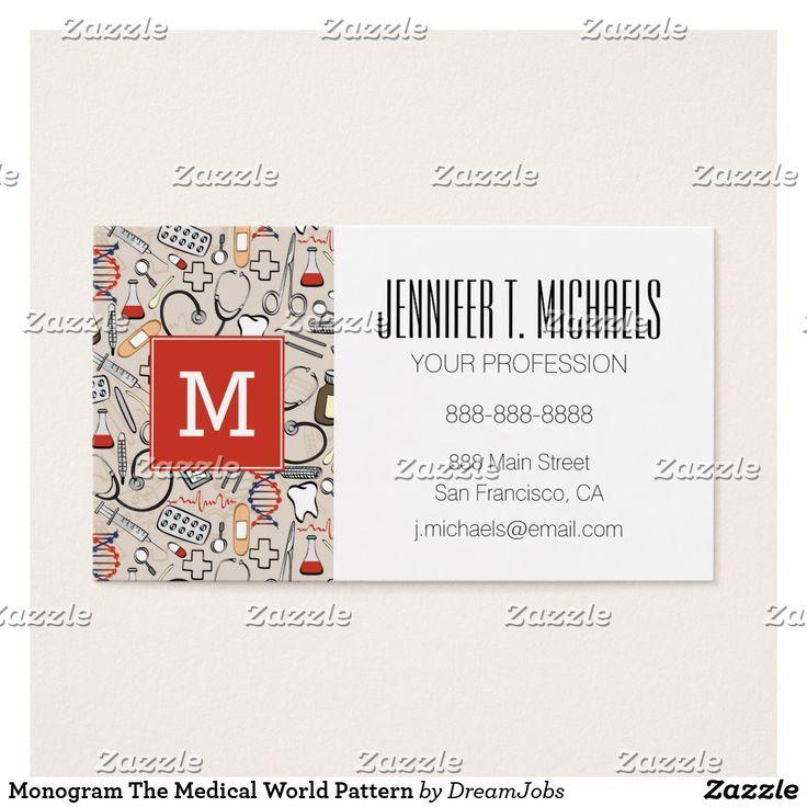 Monogram The Medical World Pattern. Producto disponible en tienda Zazzle. Product available in Zazzle store. #BusinessCard #tarjeta #card