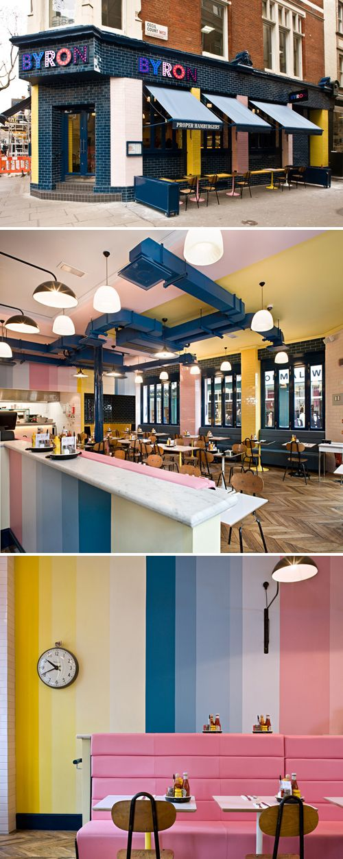 An interesting and inviting interior in this Byron Hamburgers  location at Charing Cross Road in London. Byron is a boutique hamburger rest...