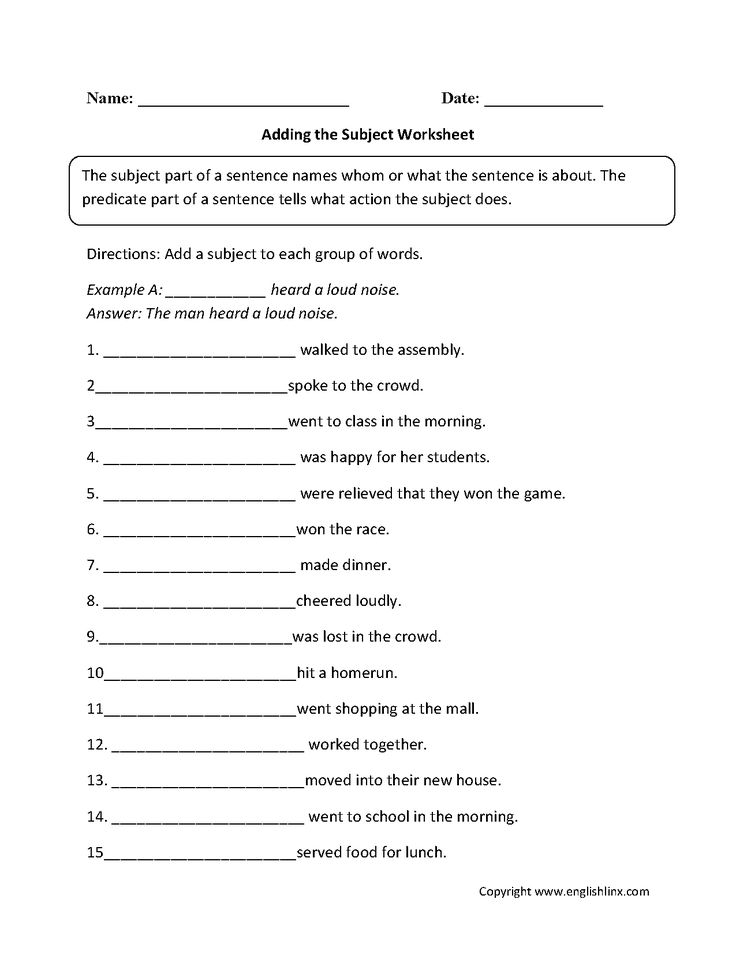 Best 25+ Subject and predicate worksheets ideas on Pinterest ...