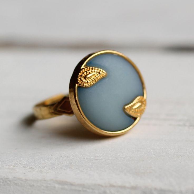 Nouveau Blue Ring ... Vintage Paisley Art by SilkPurseSowsEar